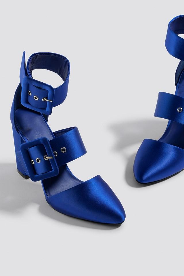 Multi Buckle Block Heels Cobalt