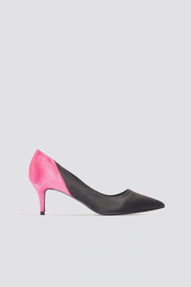 Block Mid Heel Satin Pumps Black