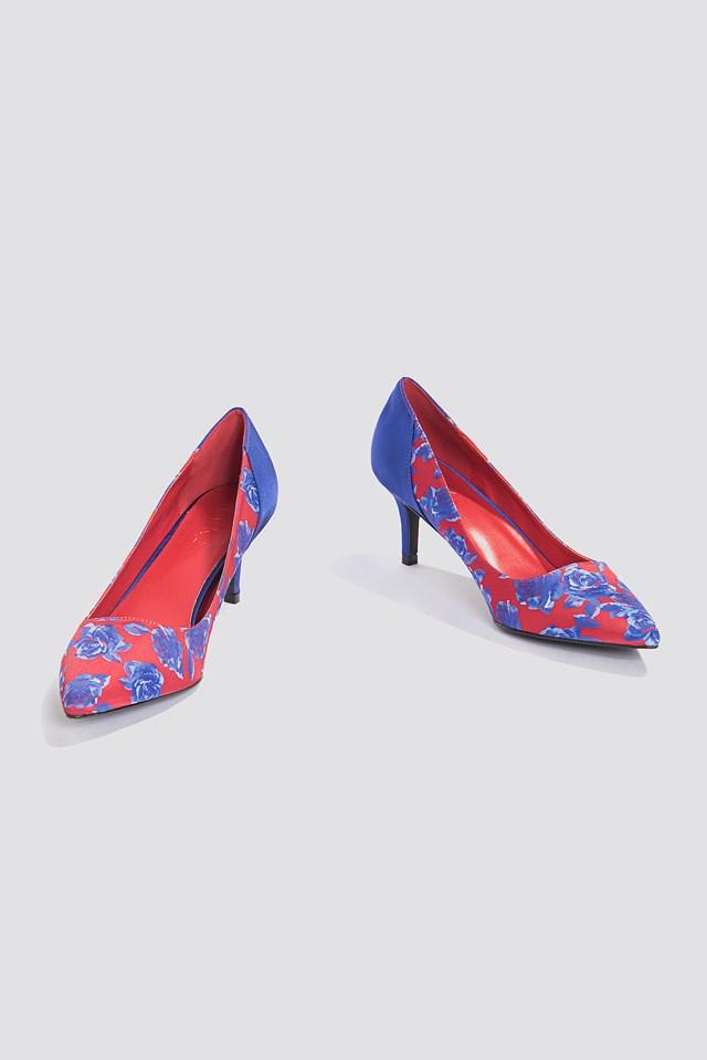 Block Mid Heel Satin Pumps Blue Flower