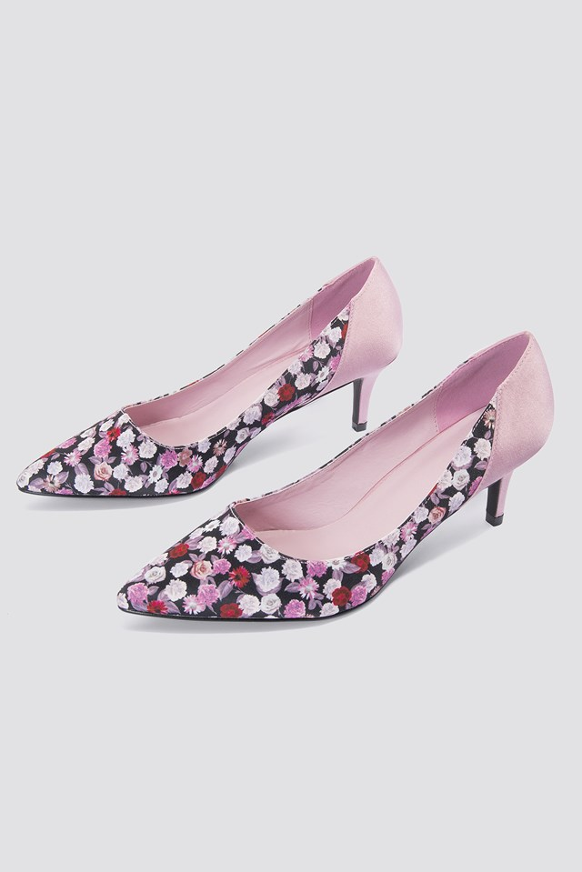 Block Mid Heel Satin Pumps Small Pink/Red Flowers