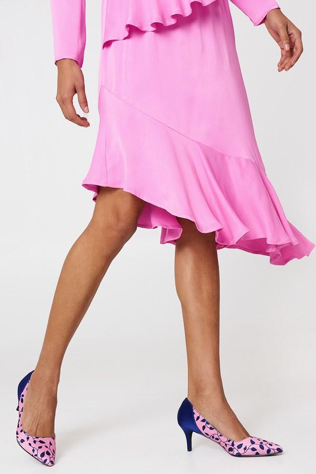 Block Mid Heel Satin Pumps Pink/Blue Pattern