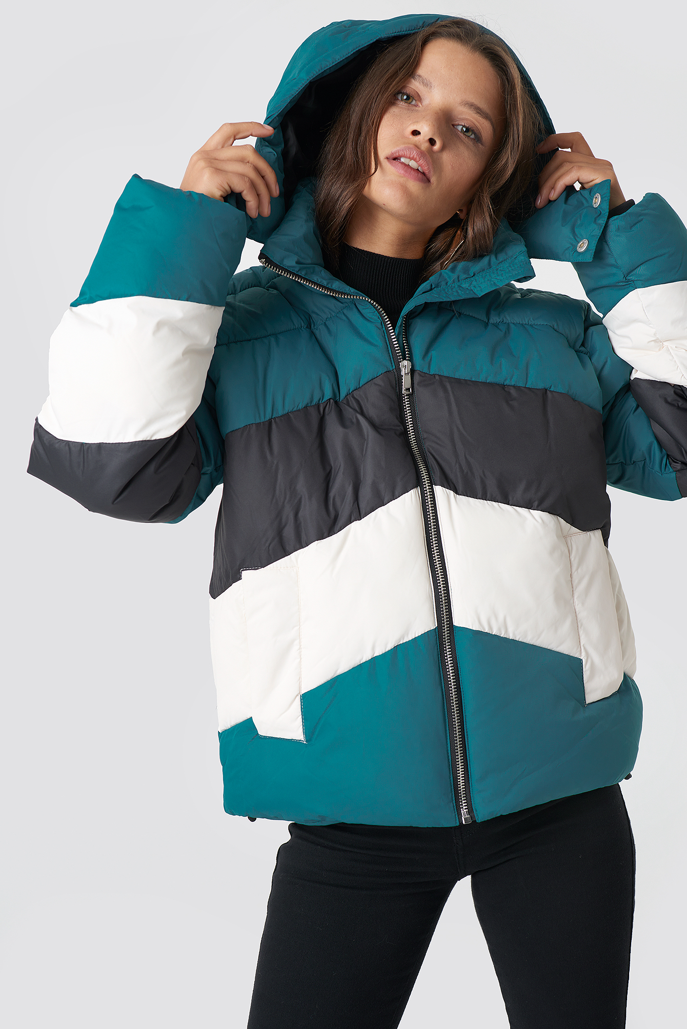 na-kd -  Block Padded Jacket - Green,Multicolor
