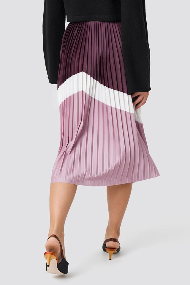 Blocked Midi Skirt Purple