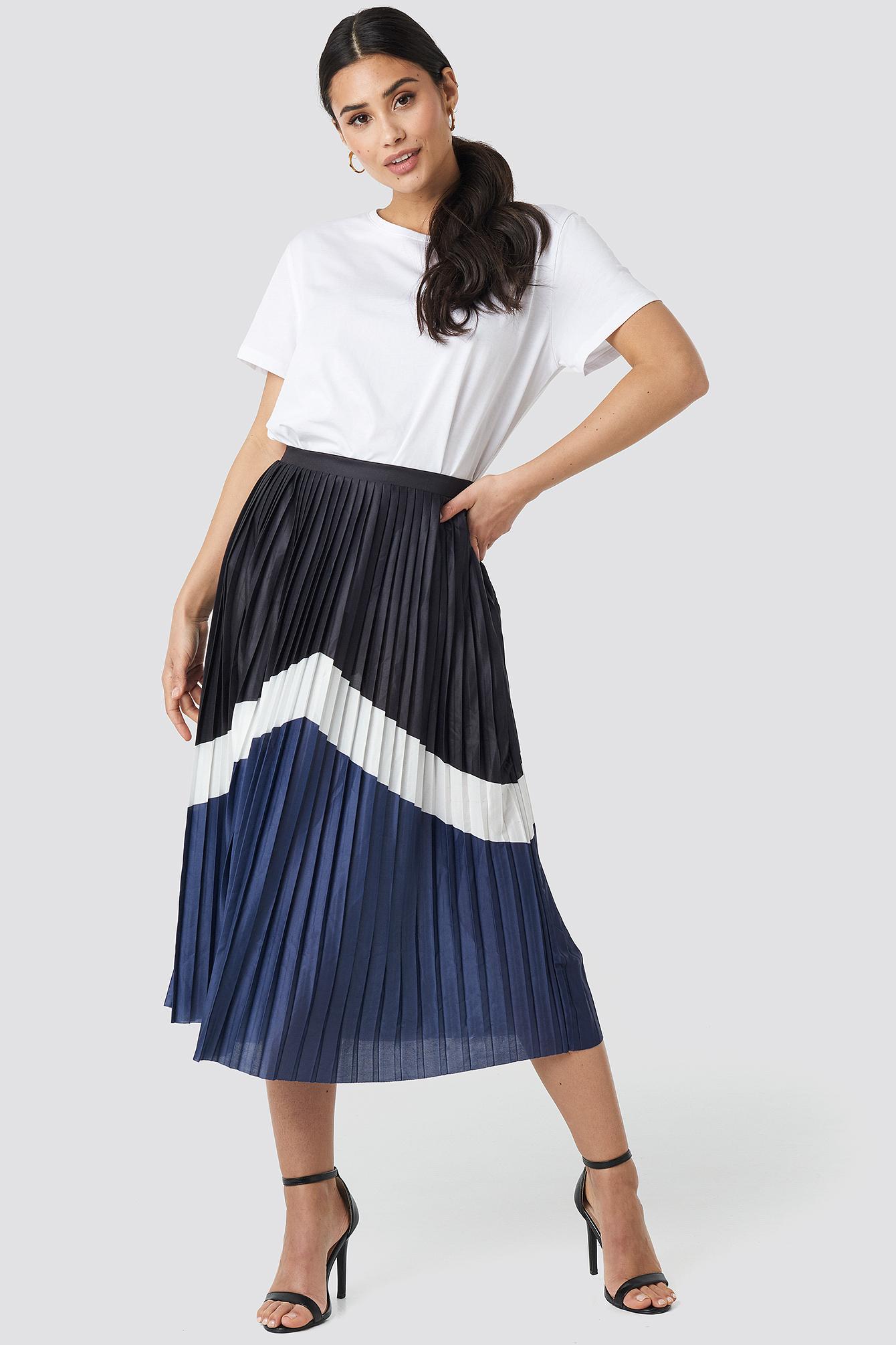 na-kd trend -  Blocked Midi Skirt - Black,Blue