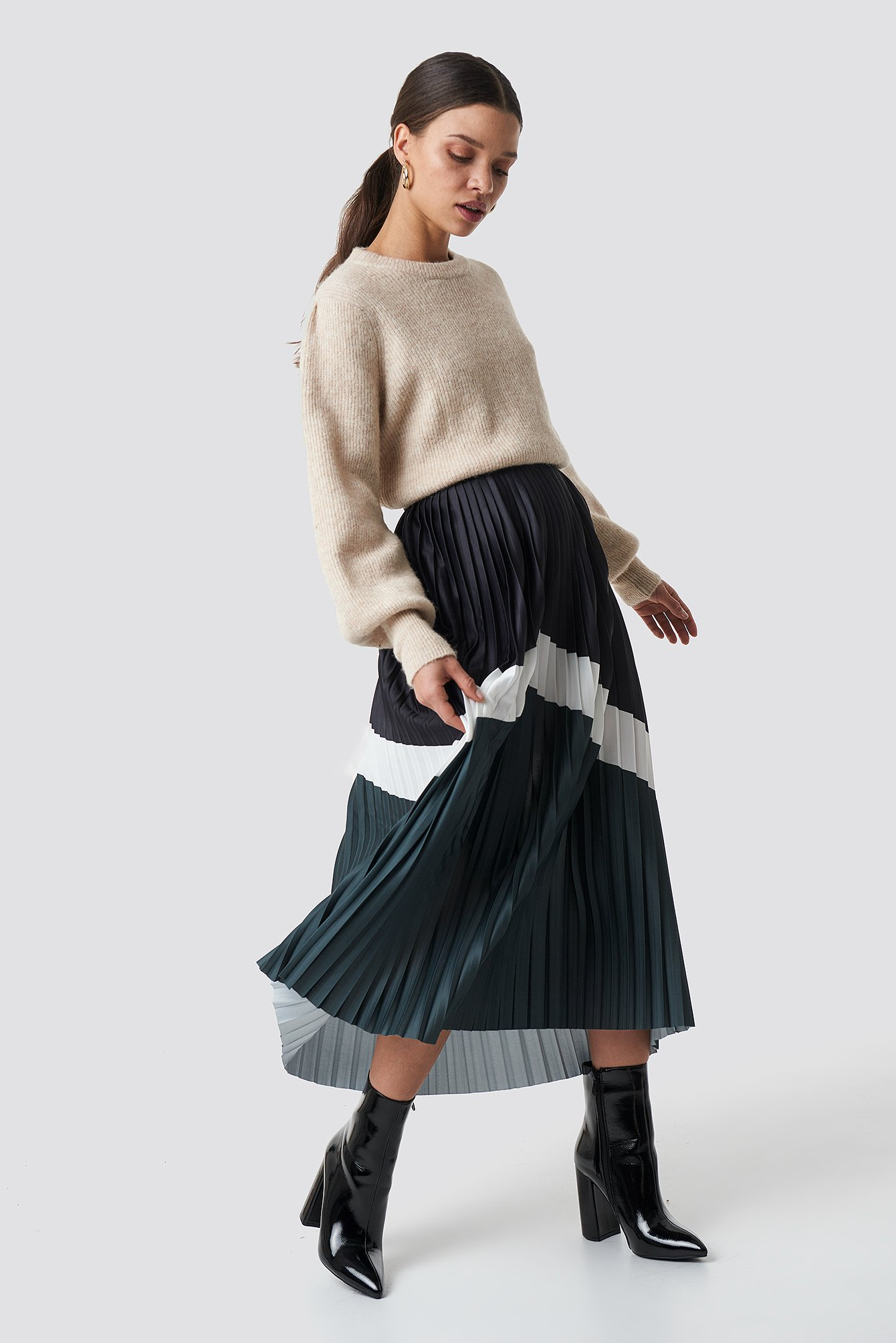na-kd trend -  Blocked Midi Skirt - Black,Green,Multicolor
