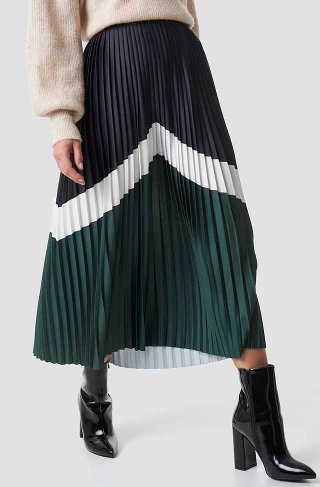 Blocked Midi Skirt Dark Green