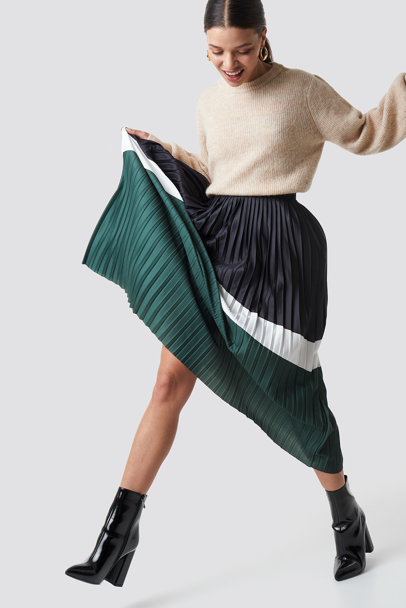 Blocked Midi Skirt NA-KD.COM