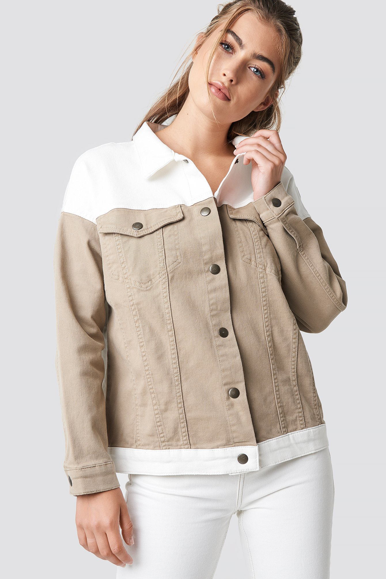 BLOCKING COLOR DENIM JACKET - BEIGE, OFFWHITE