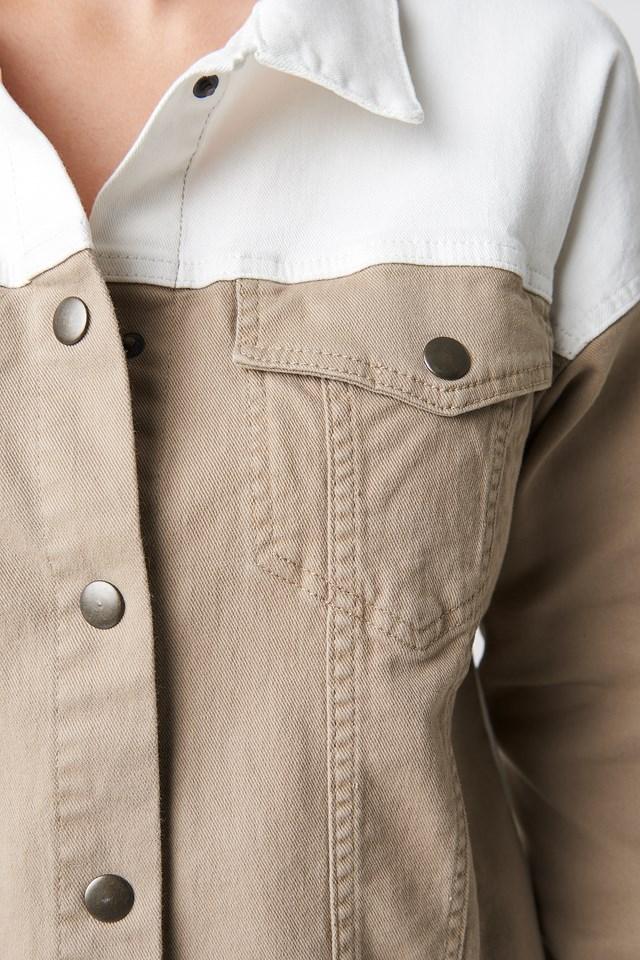 Blocking Color Denim Jacket Beige