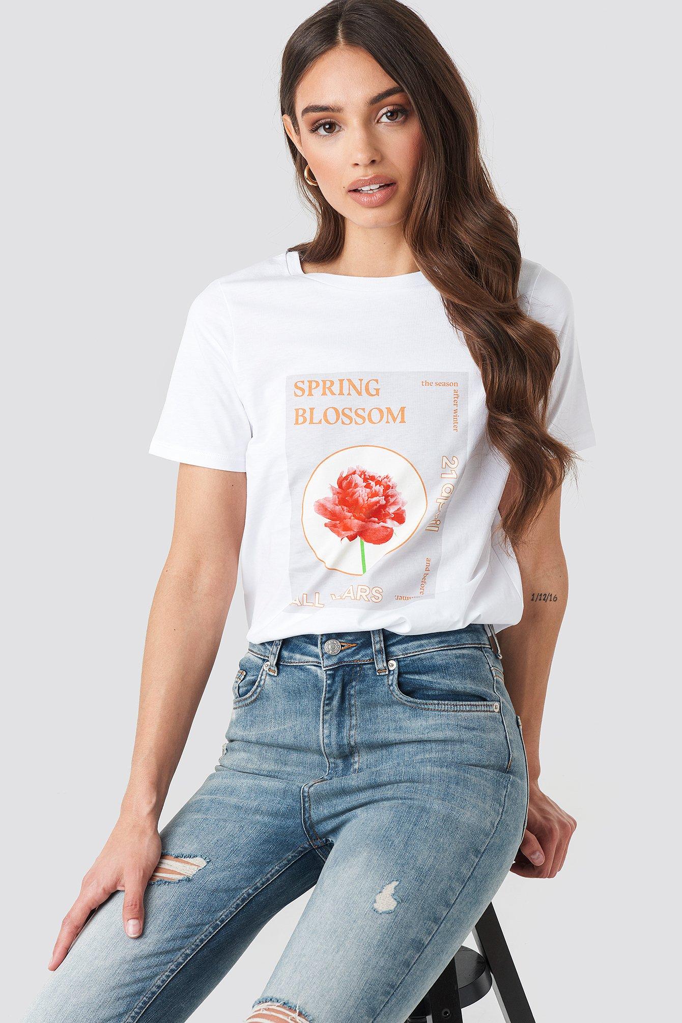 na-kd trend -  Blossom T-shirt - White