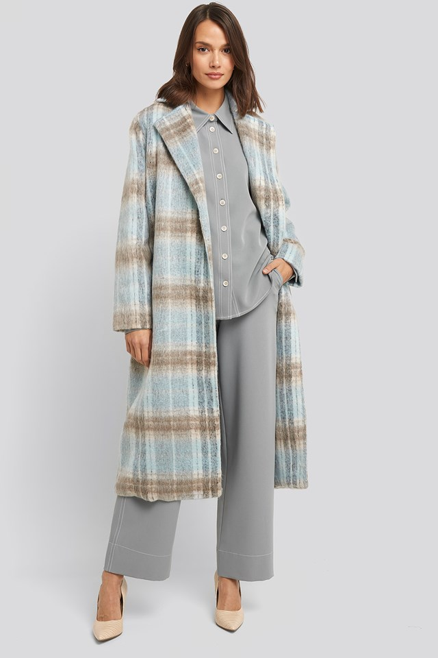 Blue Checked Coat Blue