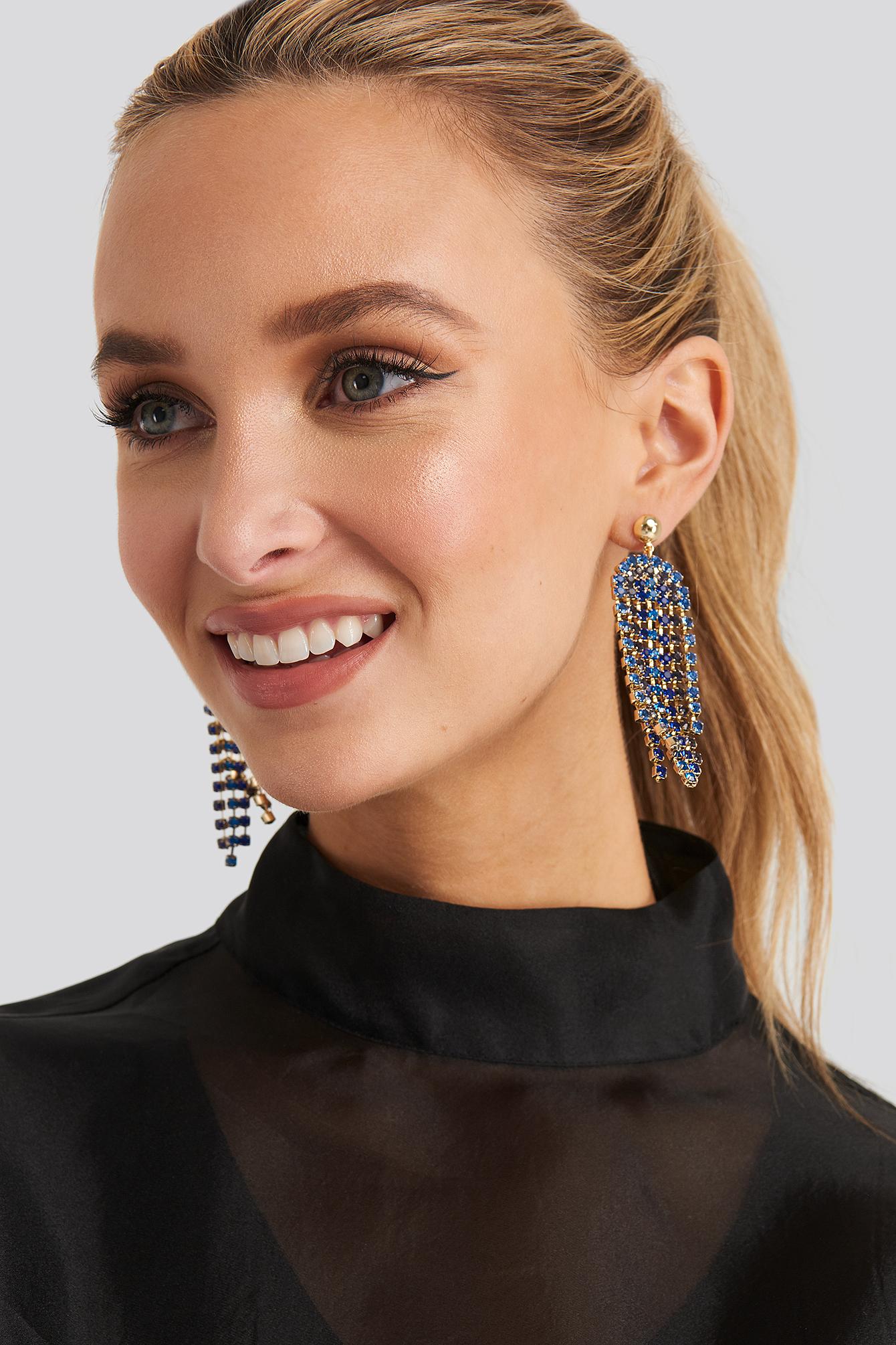 na-kd accessories -  Blue Rhinestone Drop Earrings - Blue,Gold