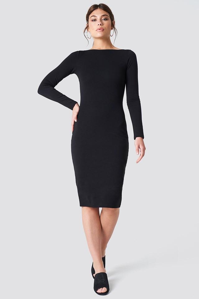 Boat Neck Dress Black