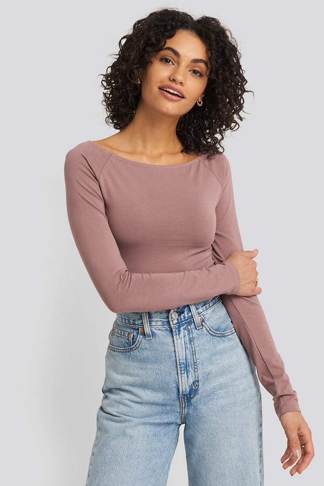 Boat Neck Fitted Top Dusty Dark Pink