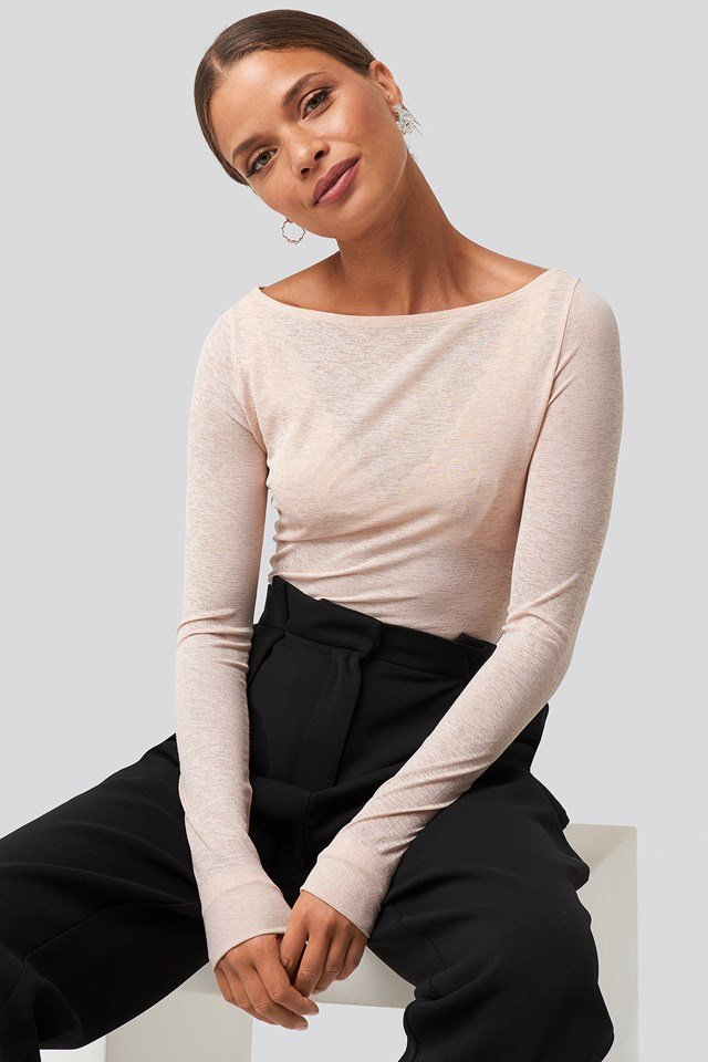 Boat Neck LS Top Light Pink