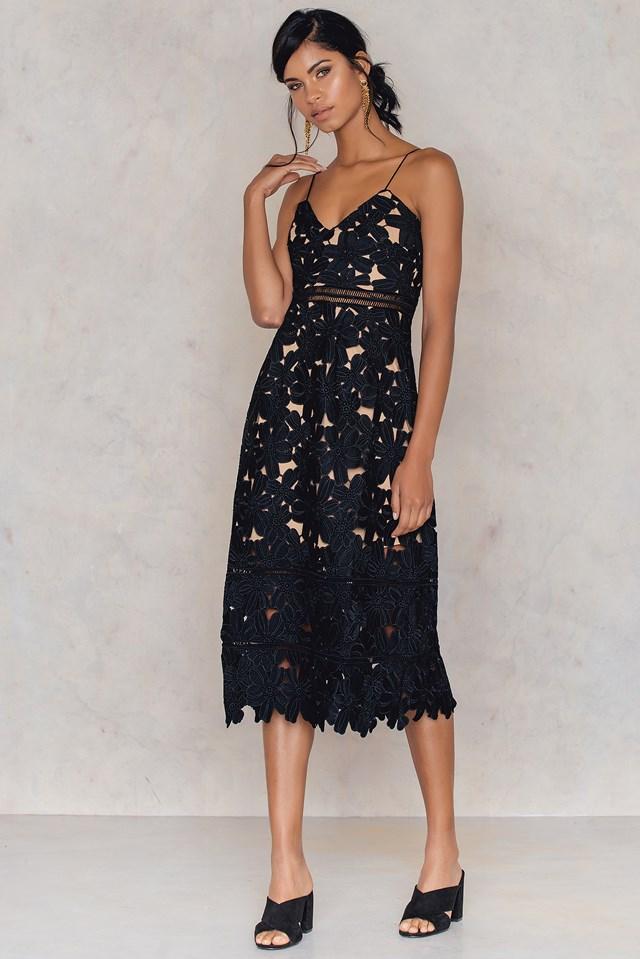 Floral Crochet Midi Dress Black
