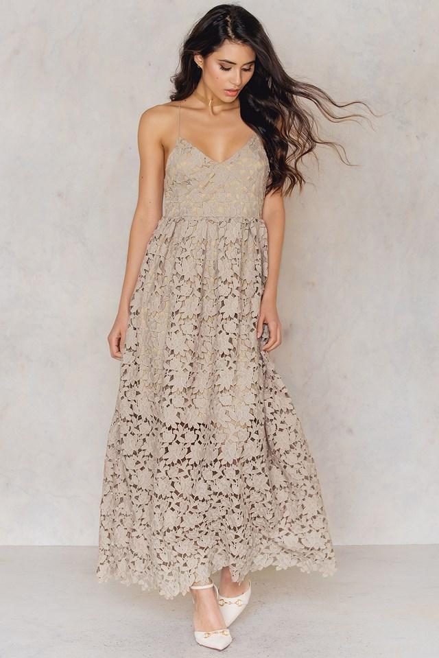 Flower Crochet Maxi Dress Nude