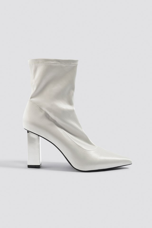 Metallic Block Heel Sock Boots NA-KD Shoes