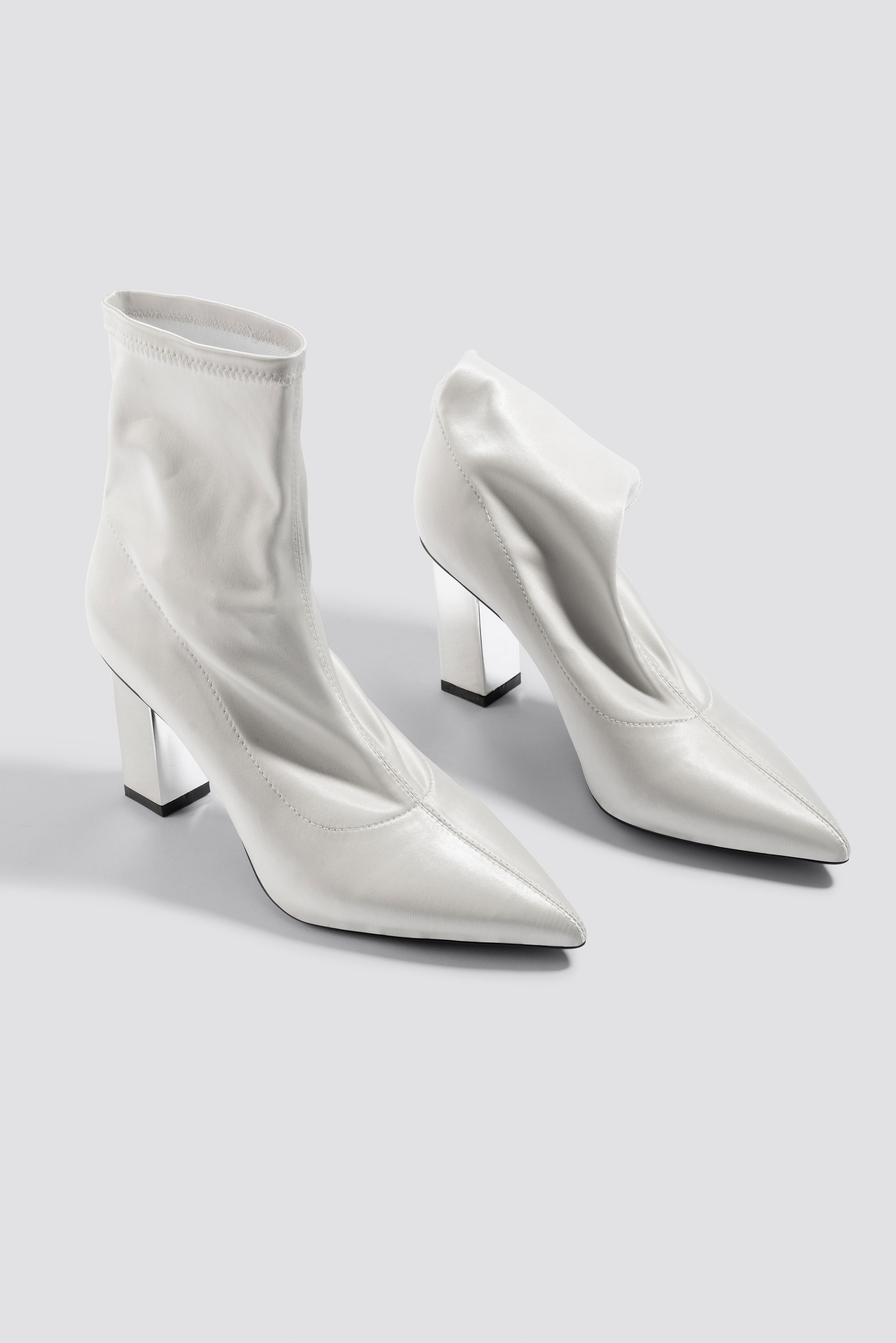 Metallic Block Heel Sock Boots NA-KD.COM