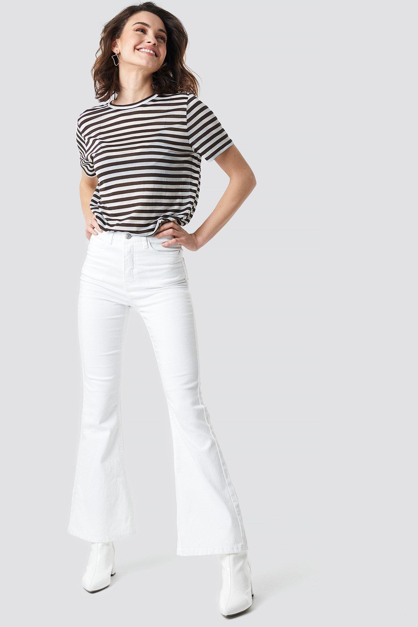 na-kd -  Bootcut Jeans - White