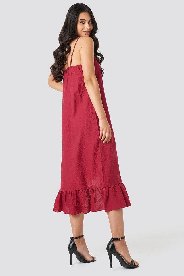 Bottom Flounce Strap Dress Red
