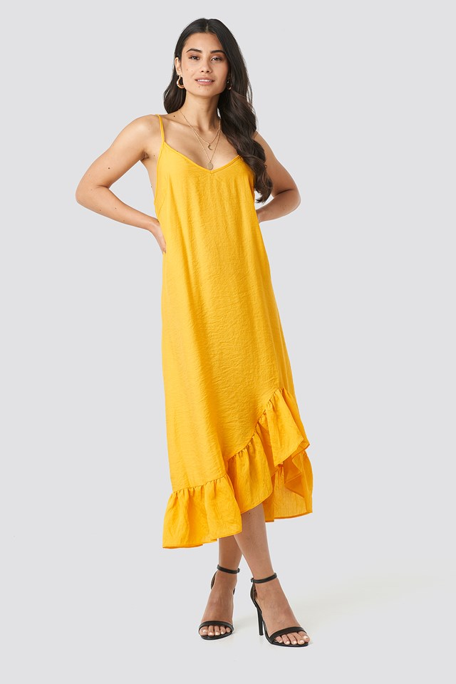 Bottom Flounce Strap Dress Yellow