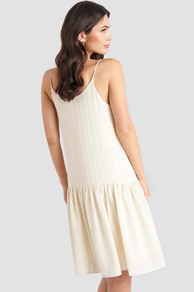 Bottom Flounce Striped Dress Cream