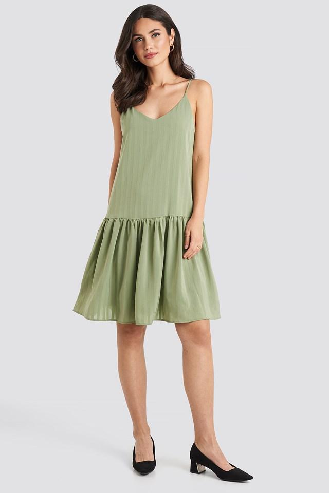 Bottom Flounce Striped Dress Khaki