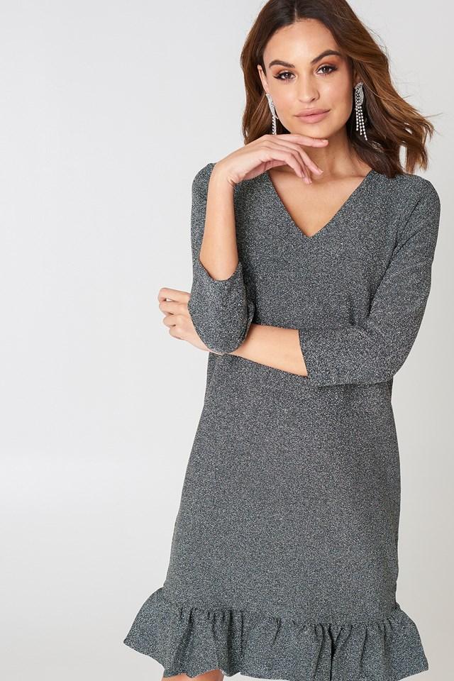 Bottom Frill Sleeve Dress Silver
