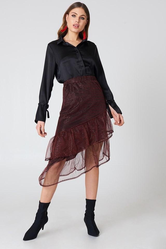 Bottom Frill Glitter Skirt Red