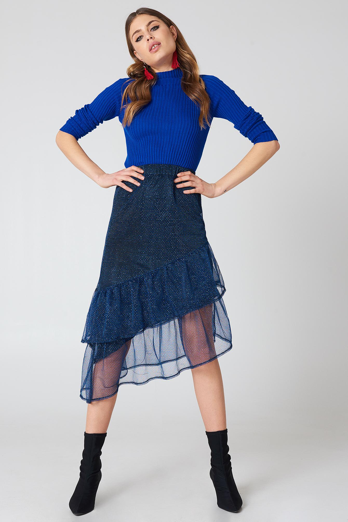 na-kd party -  Bottom Frill Glitter Skirt - Blue