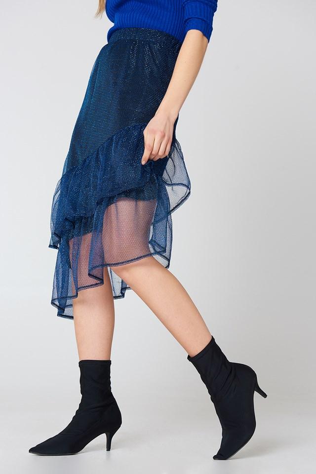 Bottom Frill Glitter Skirt Cobalt