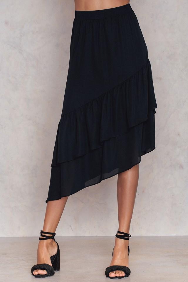 Bottom Frill Midi Skirt Black