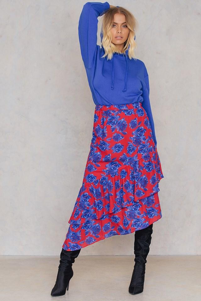 Bottom Frill Midi Skirt Red/Blue