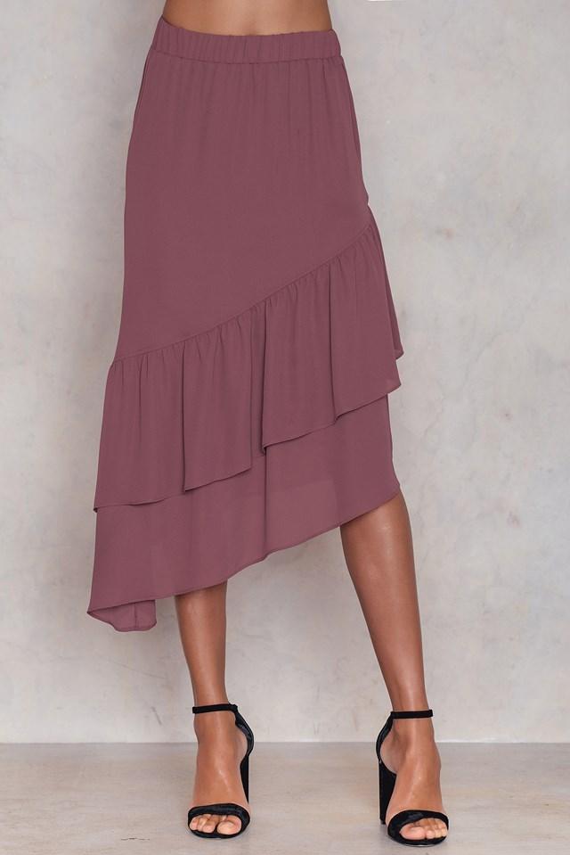 Bottom Frill Midi Skirt Purple Rose