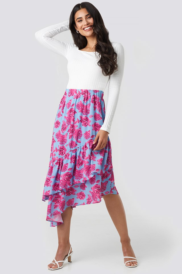 Bottom Frill Midi Skirt Pink Roses