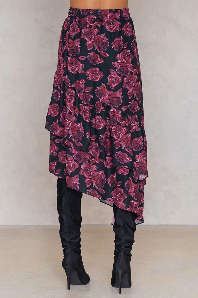 Bottom Frill Midi Skirt Black/Burgundy
