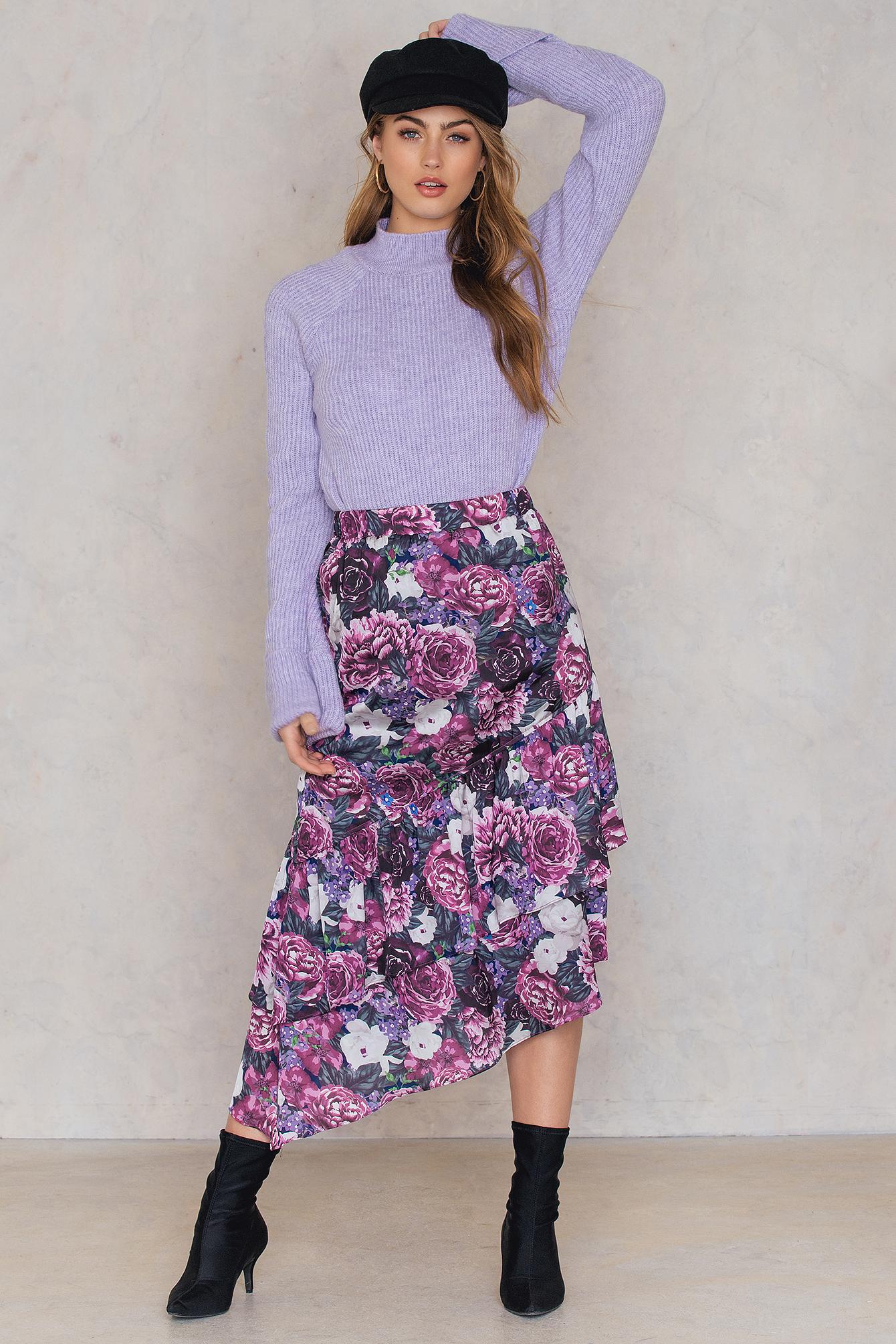 Bottom Frill Satin Midi Skirt NA-KD.COM