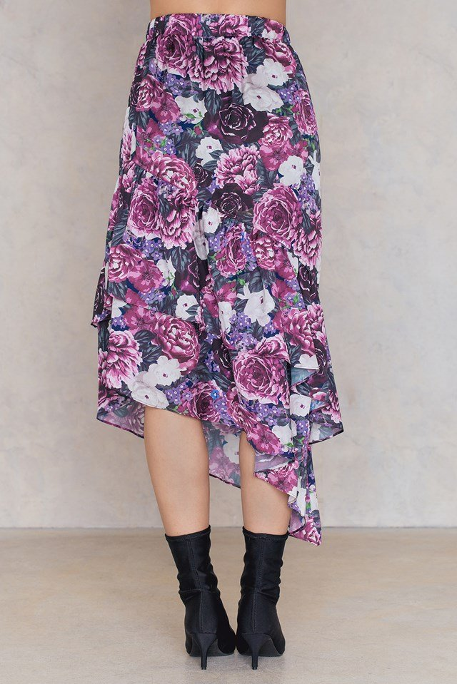 Bottom Frill Satin Midi Skirt Purple Flower