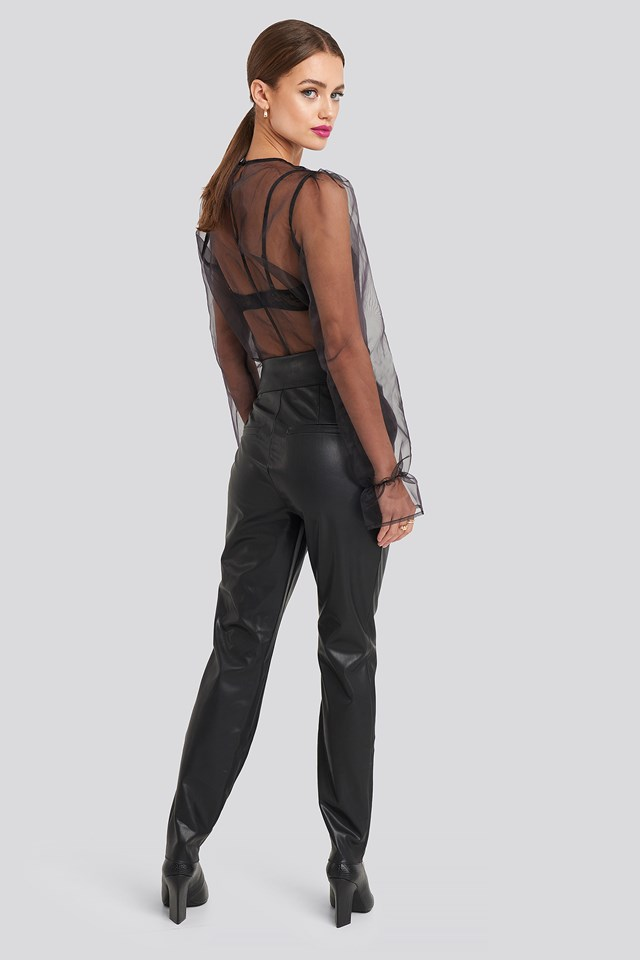 Bow Detail Faux Leather Pants Black