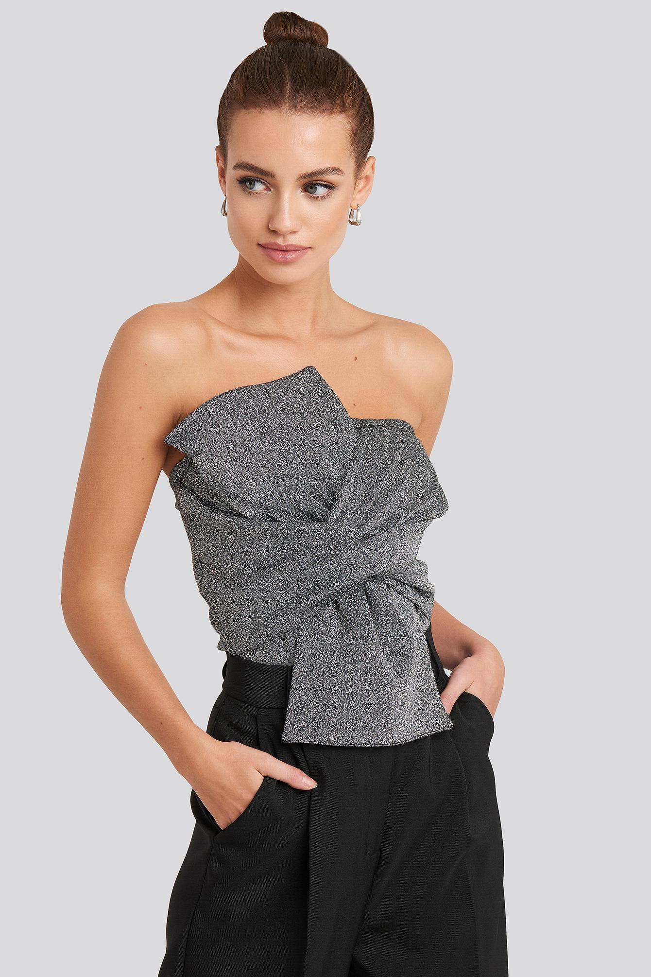 na-kd party -  Bow Detail Lurex Bandeau Bodysuit - Silver