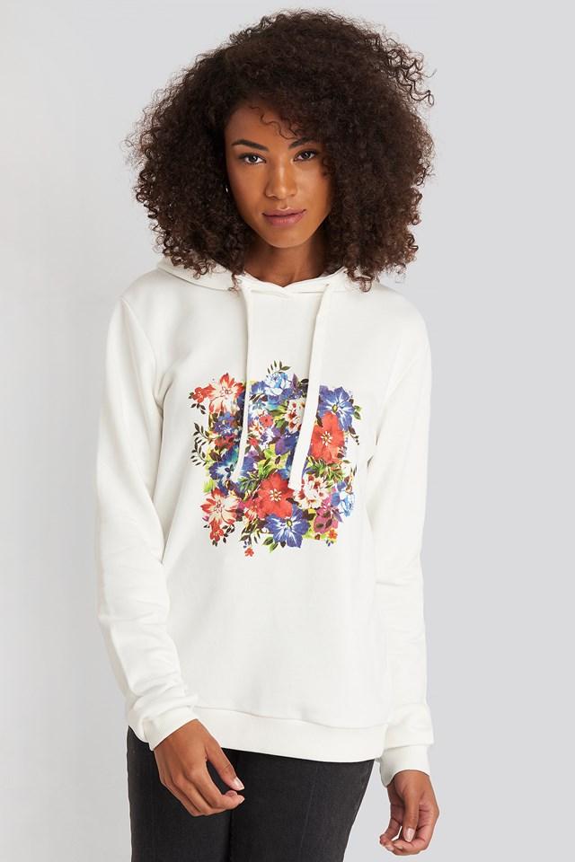 Box Floral Hoodie White