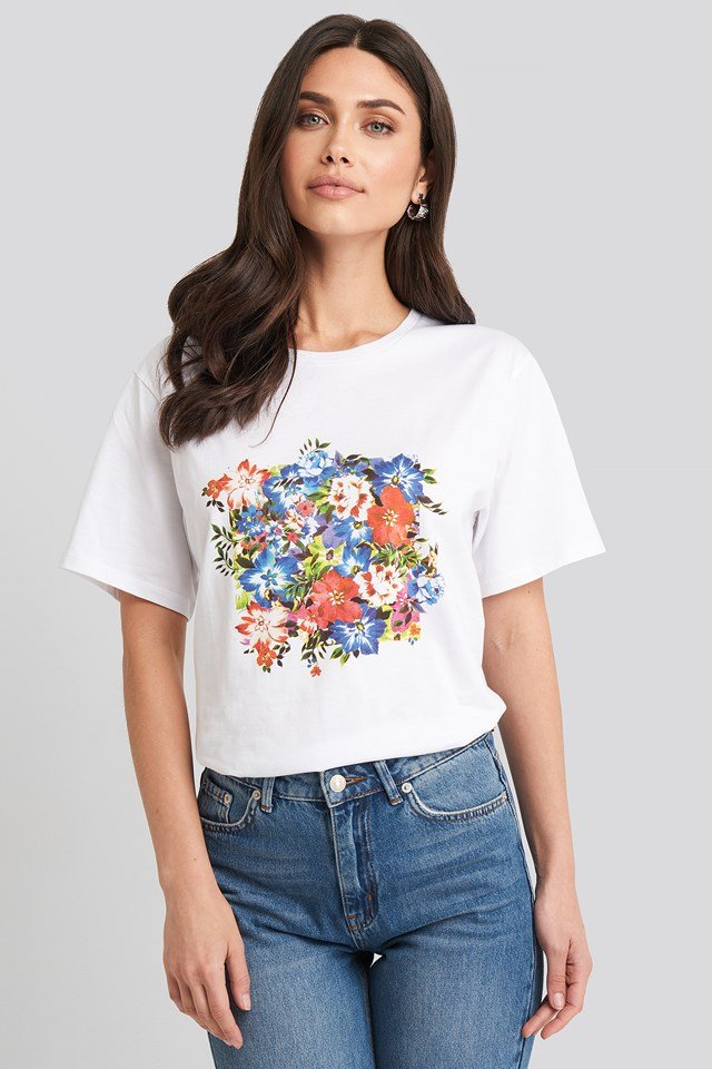 Box Floral Oversized T-shirt White