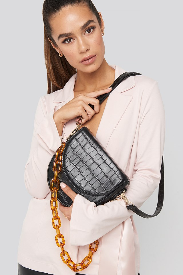 Boxy Half Moon Shoulder Bag Black Croco