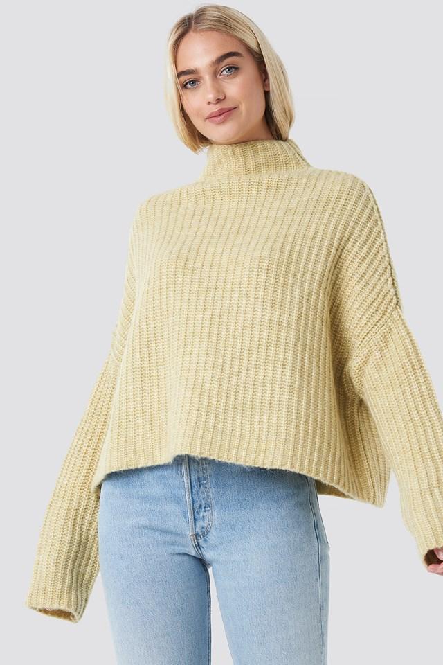 Boxy High Neck Knitted Sweater Light Yellow