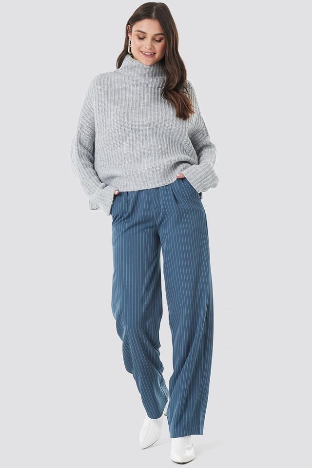 Boxy High Neck Knitted Sweater Light Grey