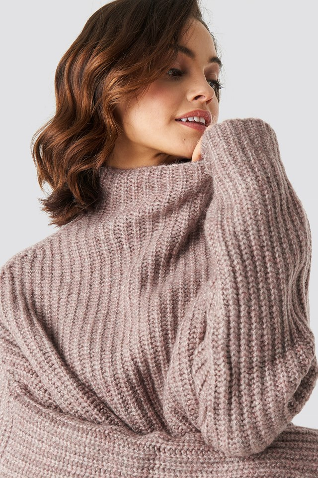 Boxy High Neck Knitted Sweater Dusty Pink