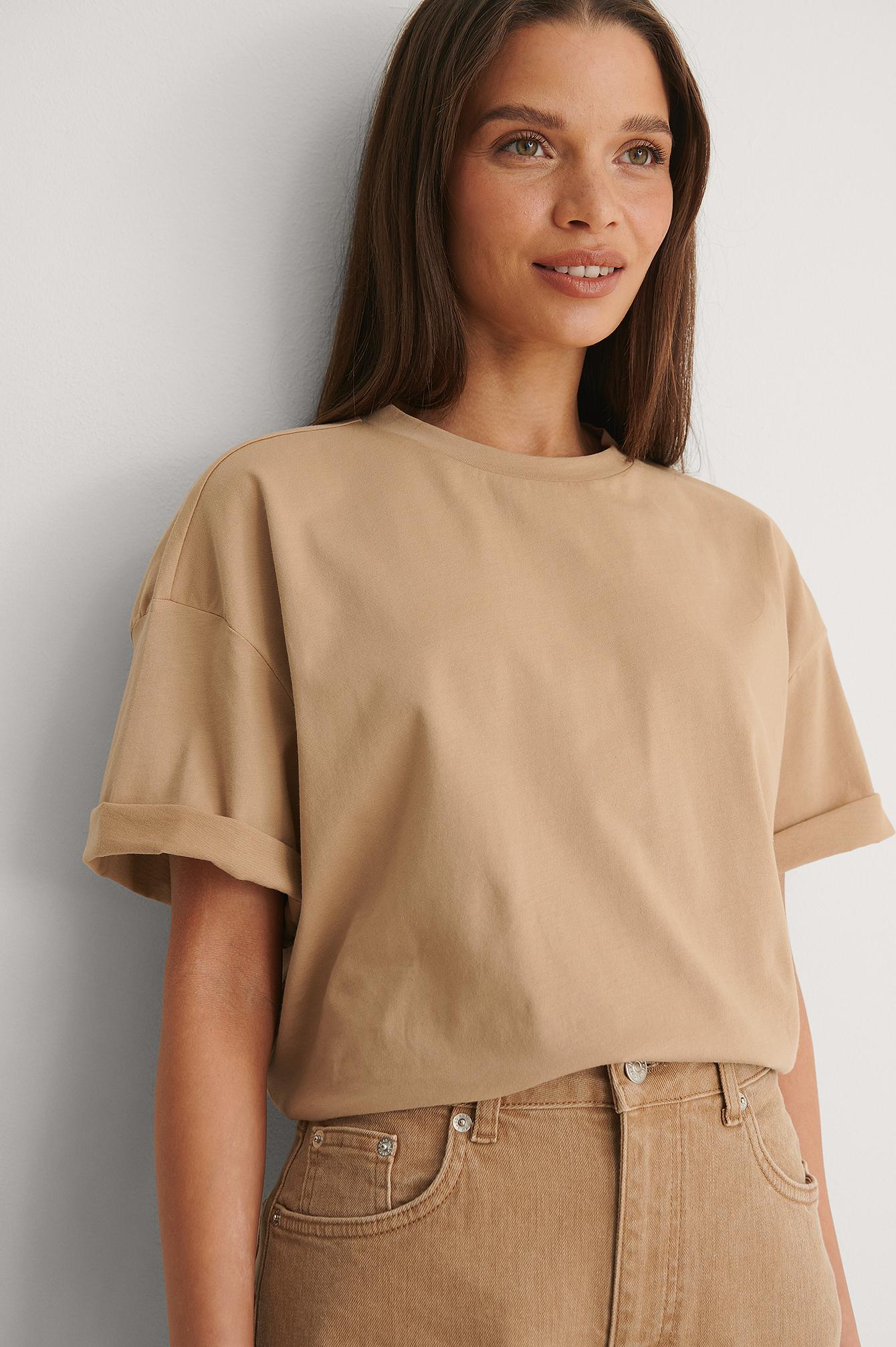 NA-KD Basic Ekologisk Boxig Oversize T-shirt - Beige