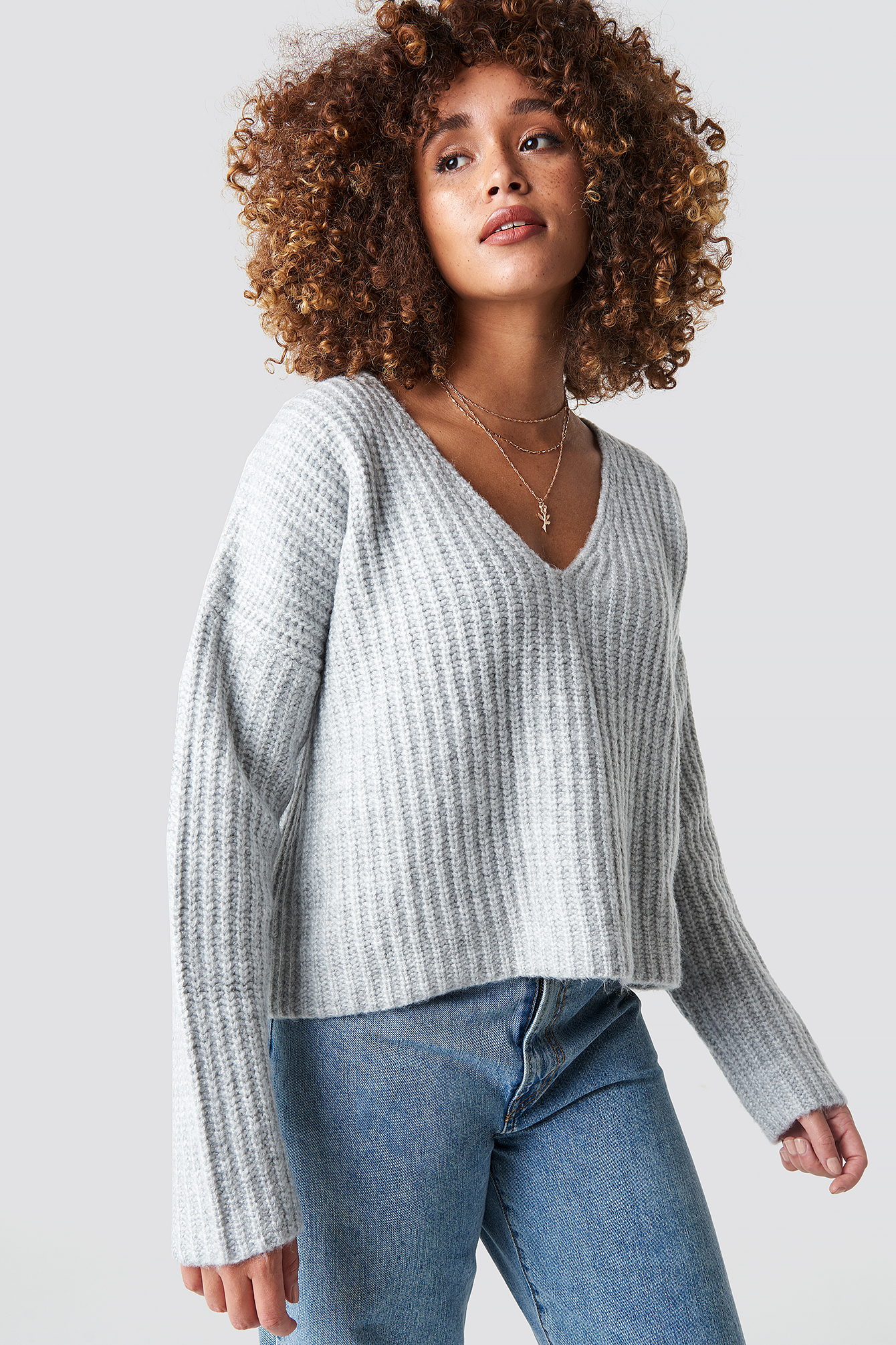 Boxy V Neck Knitted Sweater NA-KD.COM
