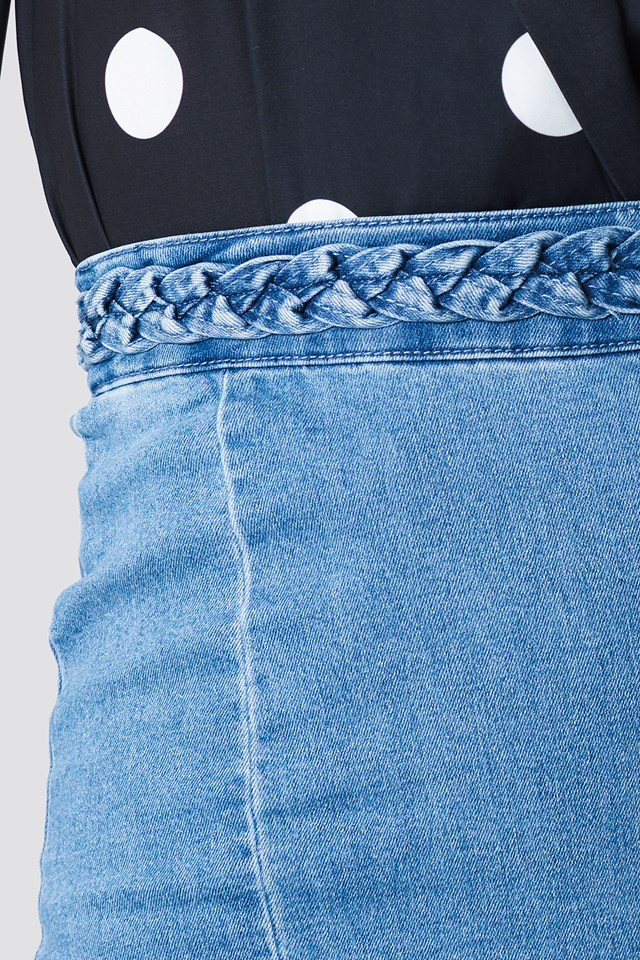 Braid Denim Skirt Mid Blue